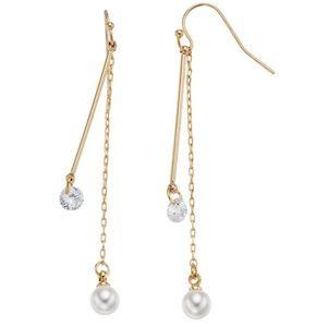 Cubic zirconia & simulated pearl earrings